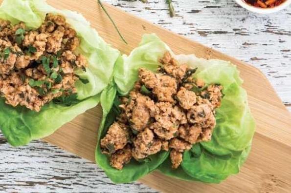 Receta de hoy: Tacos de lechuga con carne de cerdo