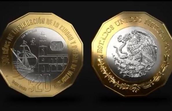 Detalles de la moneda de 20 pesos conmemorativa a la fundación de Veracruz