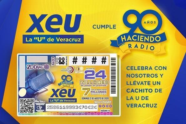Este domingo, el gran sorteo de la Lotería Nacional por los 90 años de XEU