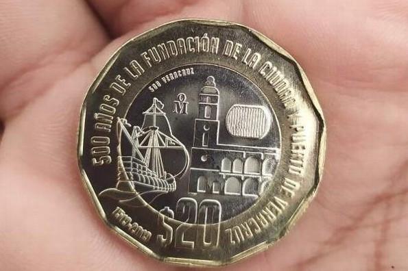 Moneda de 20 pesos de la fundación de Veracruz vale 27 mil en Internet