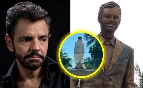 Estatua de Eugenio Derbez en Acapulco es vandalizada en menos de 24 horas